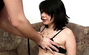 A beautiful brunette with small tits fucked bareback