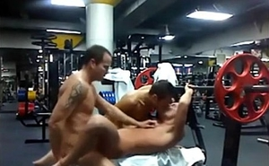 Hot threesome in the gym